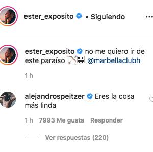 Alex Speitzer comenta foto Ester Expósito